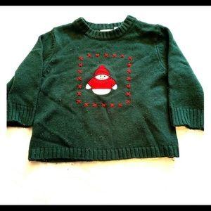 5/$20 Snowman Sweater 2T Green Toddler Kid Winter